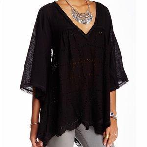 Free people summer loving linen blend blouse black